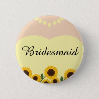 Rustic Bridesmaid Sunflowers Wedding Pin