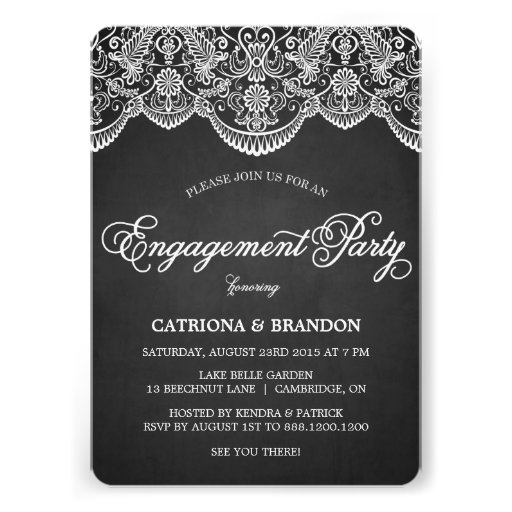 Rustic Brocade Lace Engagement Party Invitation