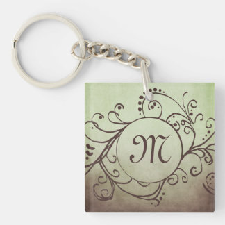Rustic Brown and Green Bohemian  Flourish Double-Sided Square Acrylic Keychain