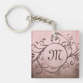 Rustic Brown and Pink Bohemian  Flourish Square Acrylic Key Chain
