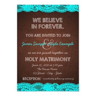 Rustic Brown and Teal Blue Wedding Custom Invitation Cards
