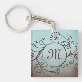 Rustic Brown and Teal Bohemian  Flourish Double-Sided Square Acrylic Keychain