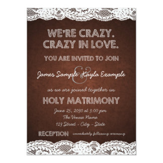 Rustic Brown and White Lace Wedding Custom Invitation