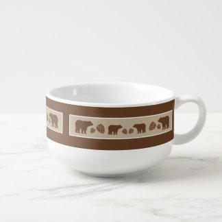 Rustic brown beige bear pinecone soup bowl