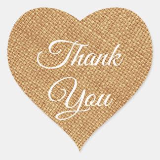 Rustic Brown Burlap Thank You  Heart Sticker