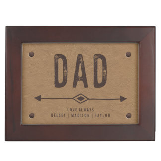 Rustic Brown Faux Leather for Dad and Photo Inside Keepsake Box
