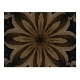 Rustic Brown Floral Kaleidoscope Design Postcard