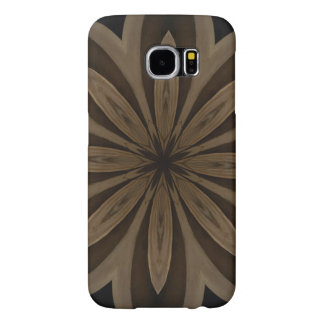 Rustic Brown Floral Kaleidoscope Design Samsung Galaxy S6 Cases