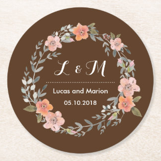 Rustic Brown Floral Wreath Monogram Wedding Party Round Paper Coaster