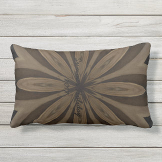 Rustic Brown Flower Kaleidoscope Design Outdoor Cushion