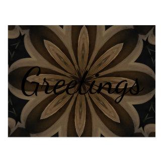Rustic Brown Flower Kaleidoscope Design Postcard