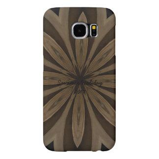 Rustic Brown Flower Kaleidoscope Design Samsung Galaxy S6 Cases