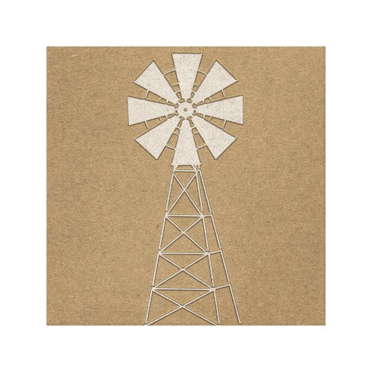 Rustic Brown Kraft Farm Windmill Country Modern Canvas Print