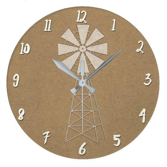 Rustic Brown Kraft Farm Windmill Country Modern Large Clock
