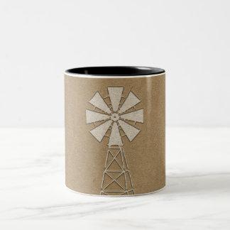 Rustic Brown Kraft Farm Windmill Country Modern Two-Tone Coffee Mug