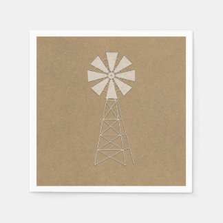 Rustic Brown Kraft Farm Windmill Modern Wedding Paper Napkin