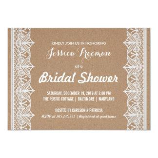 Rustic Brown Kraft Paper Lace Bridal Shower 13 Cm X 18 Cm Invitation Card