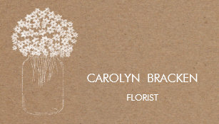 Kraft business cards zazzle au rustic brown kraft paper mason jar flowers business card reheart Gallery