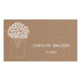 Rustic Brown Kraft Paper Mason Jar Flowers Pack Of Standard Business Cards