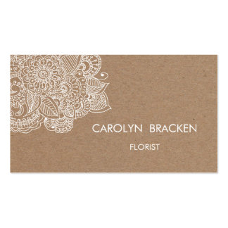 Rustic Brown Kraft Paper Paisley Doodle Pack Of Standard Business Cards