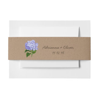 Rustic Brown Kraft Paper Pattern Blue Hydrangeas Invitation Belly Band