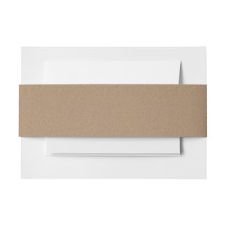 Rustic Brown Kraft Paper Pattern Invitation Belly Band