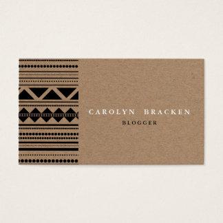 Rustic Brown Kraft Paper Tribal Aztec Pattern Business Card