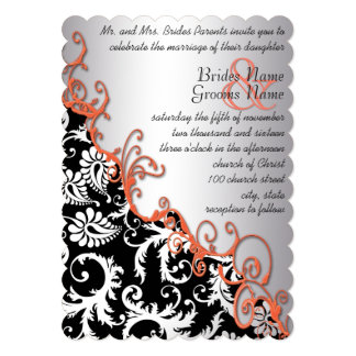 Rustic Brown Paper Damask Tangerine Swirls Card