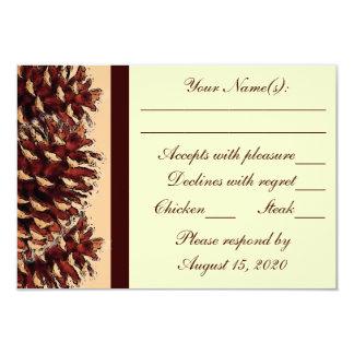 Rustic brown peach pine cone wedding RSVP cards