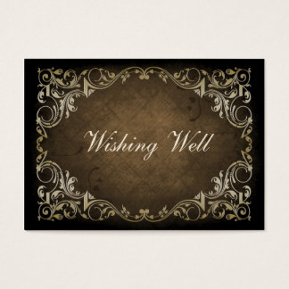 rustic brown regal wishing well cards