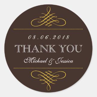 Rustic Brown Swirls Ornament Wedding Stickers