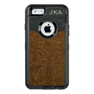 Rustic Brown Tooled Leather Personalized OtterBox iPhone 6/6s Case