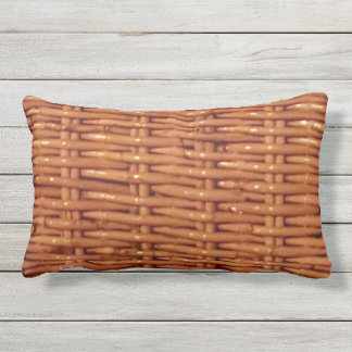 Rustic Brown Wicker Basket Country Style Funny Outdoor Cushion
