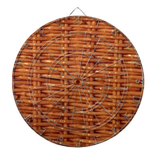 Rustic Brown Wicker Picnic Basket Country Style Dartboard