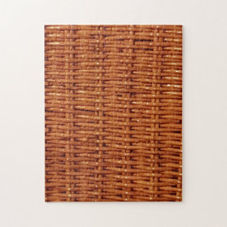 Rustic Brown Wicker Picnic Basket Country Style Jigsaw Puzzle