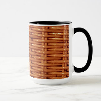 Rustic Brown Wicker Picnic Basket Country Style Mug