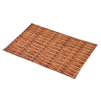 Rustic Brown Wicker Picnic Basket Country Style Placemat