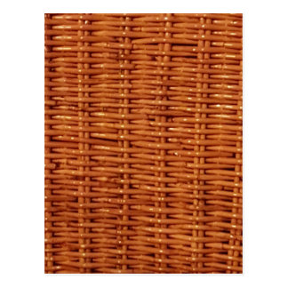 Rustic Brown Wicker Picnic Basket Country Style Postcard