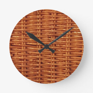 Rustic Brown Wicker Picnic Basket Country Style Round Clock