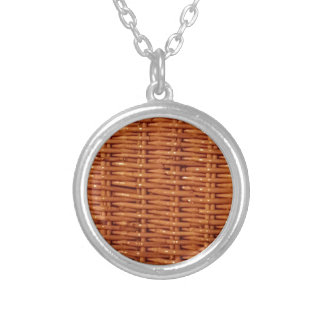 Rustic Brown Wicker Picnic Basket Country Style Silver Plated Necklace
