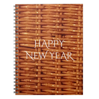 Rustic Brown Wicker Picnic Basket Country Style Spiral Note Books