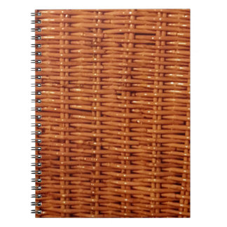 Rustic Brown Wicker Picnic Basket Country Style Spiral Notebook