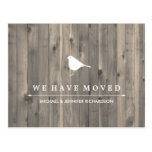 Rustic Brown Wood and Sweet Bird Change of Address Postcard