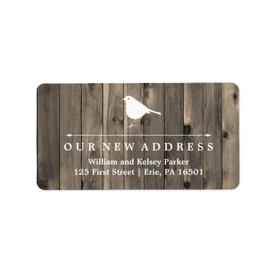Rustic Brown Wood and Sweet Bird New Address Address Label
