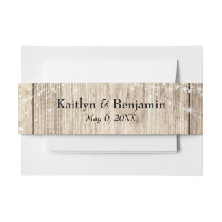 Rustic Brown Wood & Light Strings Personalized Invitation Belly Band
