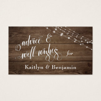 Rustic Brown Wood & Lights, Advice and Well-Wishes Business Card