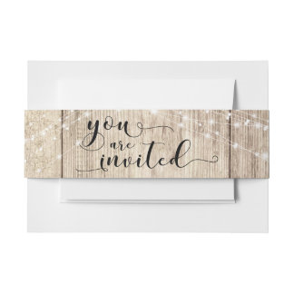 "Rustic Brown Wood & Lights ""You are Invited"" Invitation Belly Band"