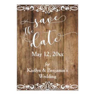 Rustic Brown Wood w/ Scrollwork Save the Date Card
