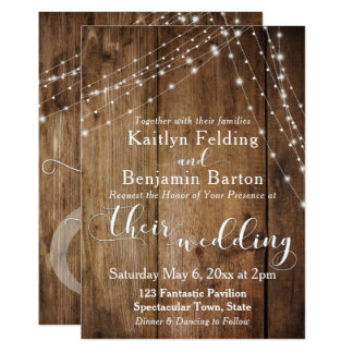 Rustic Brown Wood, White Light Strings Wedding 2 Card