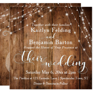 Rustic Brown Wood, White Light Strings Wedding 2b Card